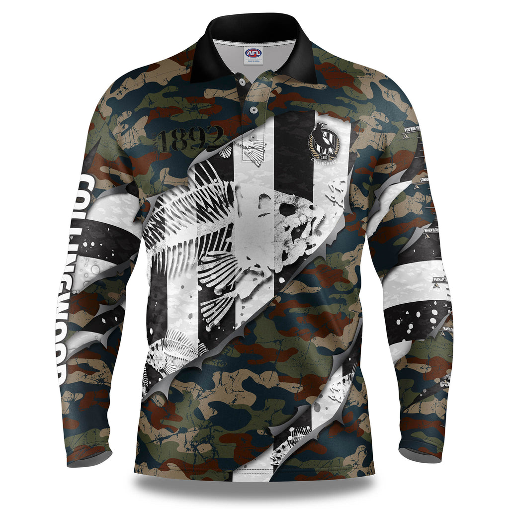 "AFL Collingwood Magpies ""Skeletor"" Fishing Shirt - Adult"