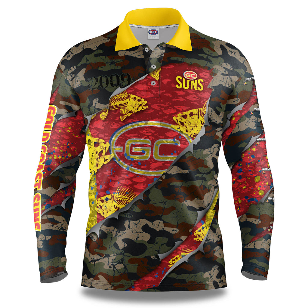 "AFL Gold Coast Suns ""Skeletor"" Fishing Shirt - Adult"