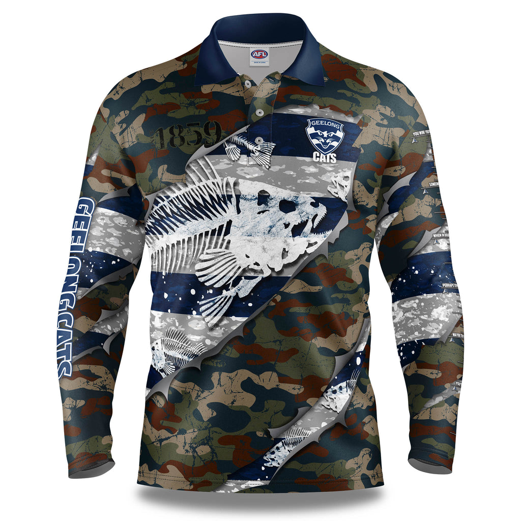 "AFL Geelong Cats ""Skeletor"" Fishing Shirt - Youth"