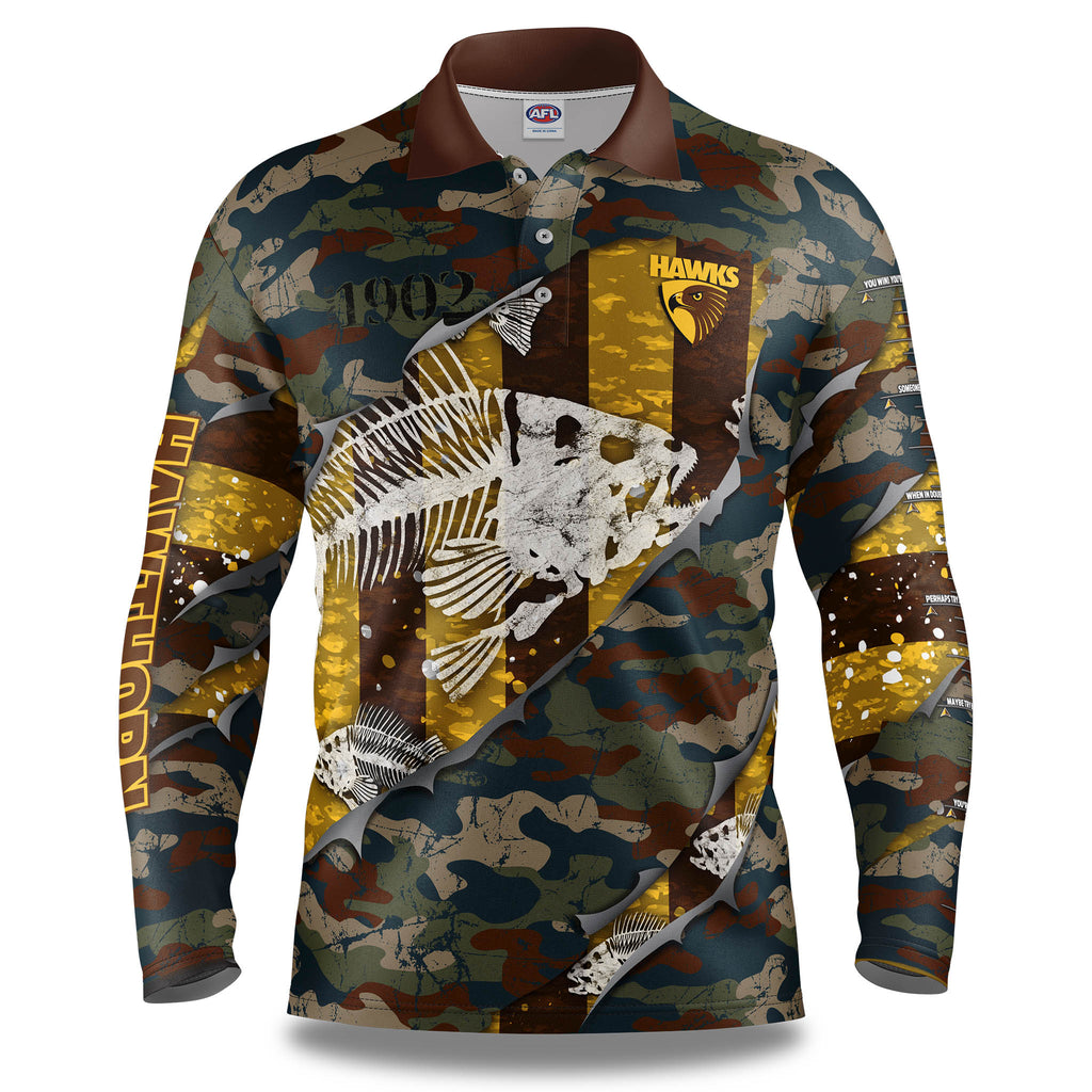 "AFL Hawthorn ""Skeletor"" Fishing Shirt - Adult"