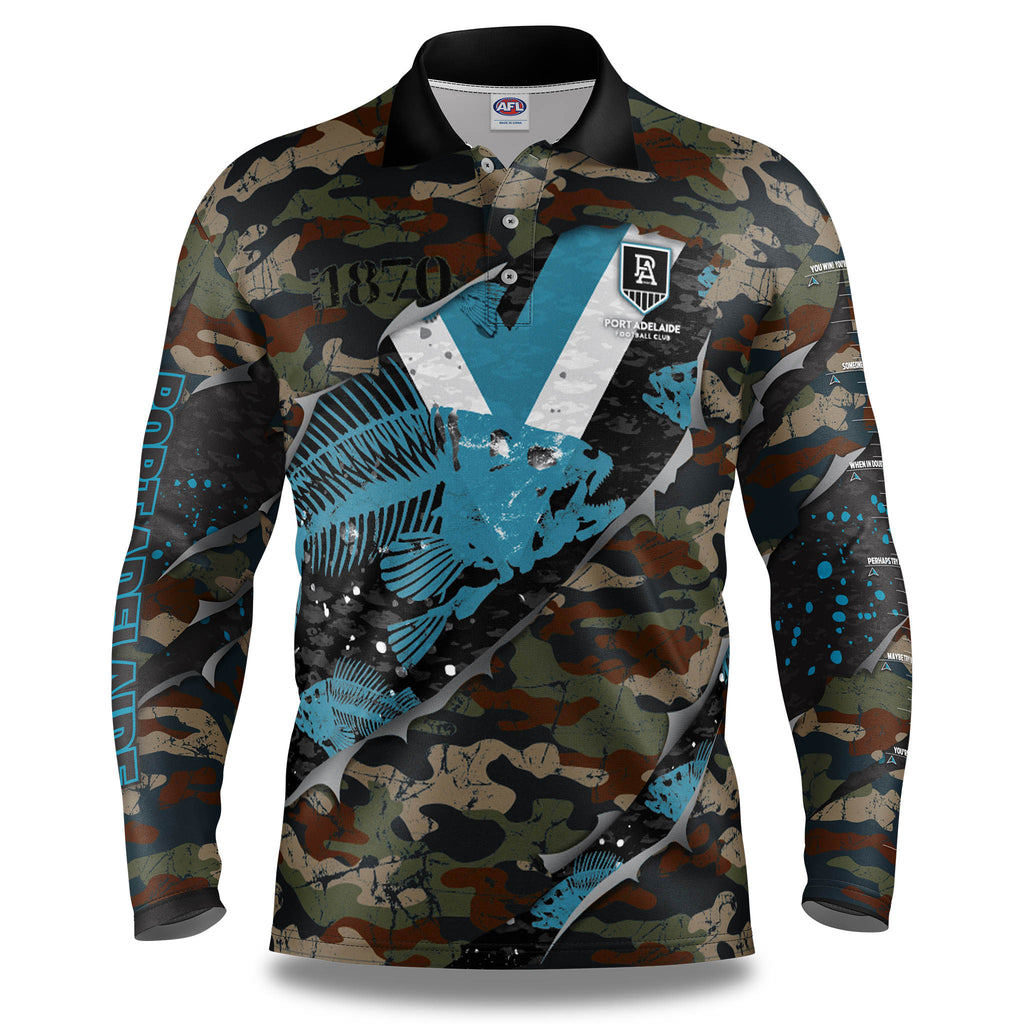 "AFL Port Adelaide ""Skeletor"" Fishing Shirt - Youth"