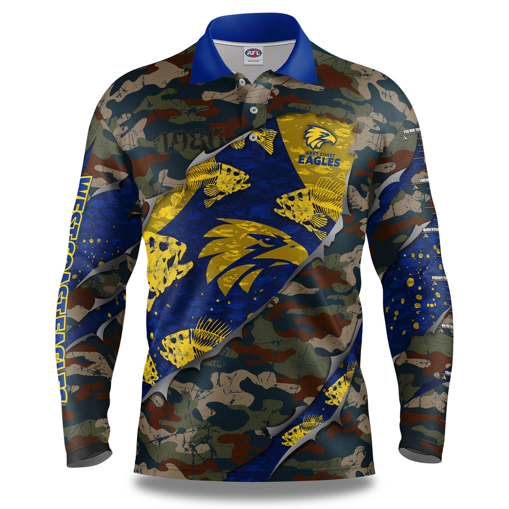 "AFL West Coast Eagles ""Skeletor"" Fishing Shirt - Adult"