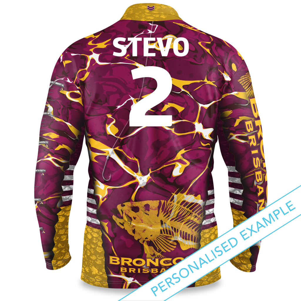 "NRL Broncos ""Skeletor"" Fishing Shirt - Youth"