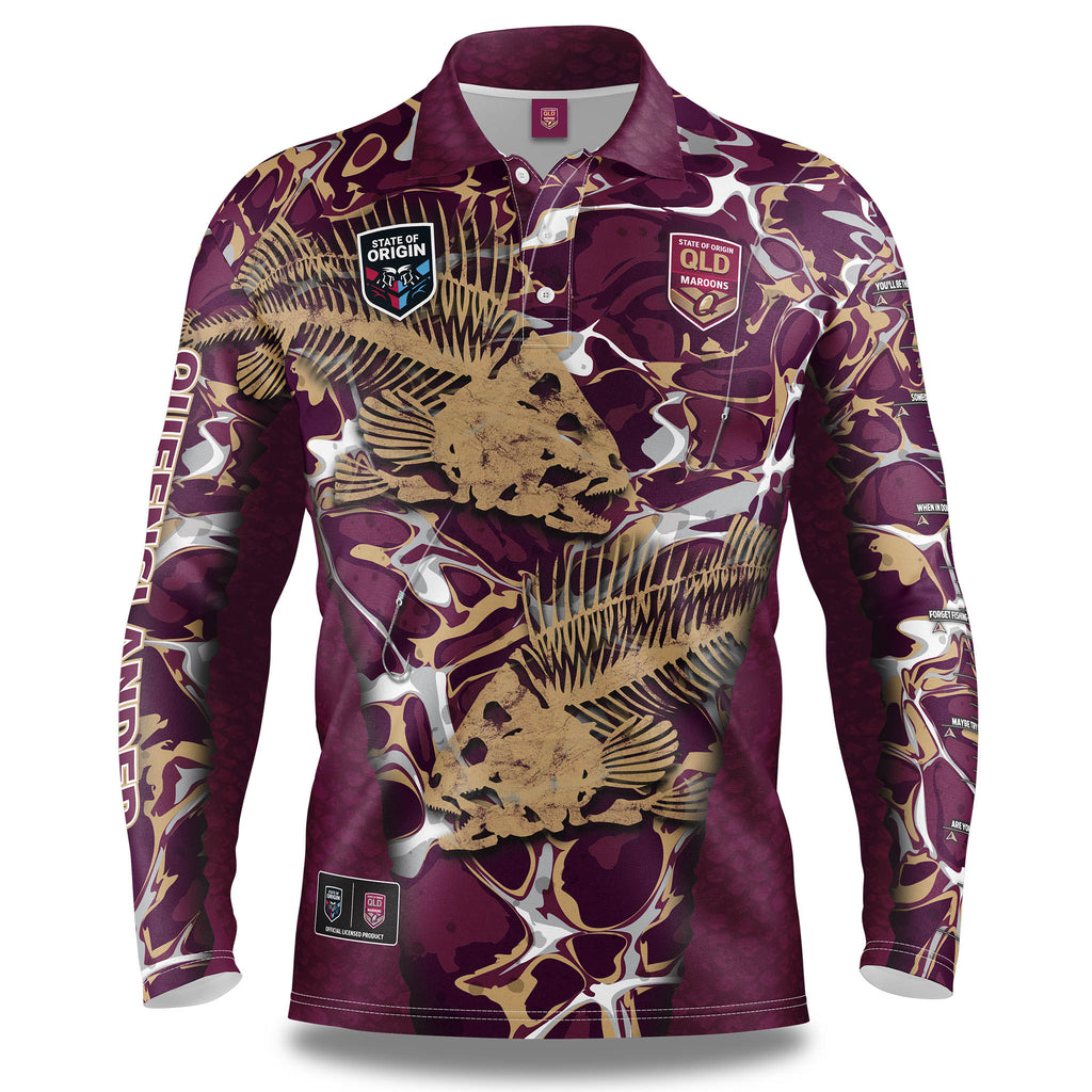 "QLD Maroon ""Skeletor"" Fishing Shirt - Adult"