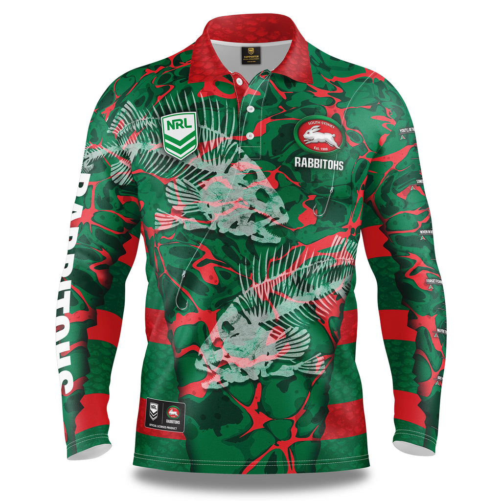 "NRL Rabbitohs ""Skeletor"" Fishing Shirt - Youth"