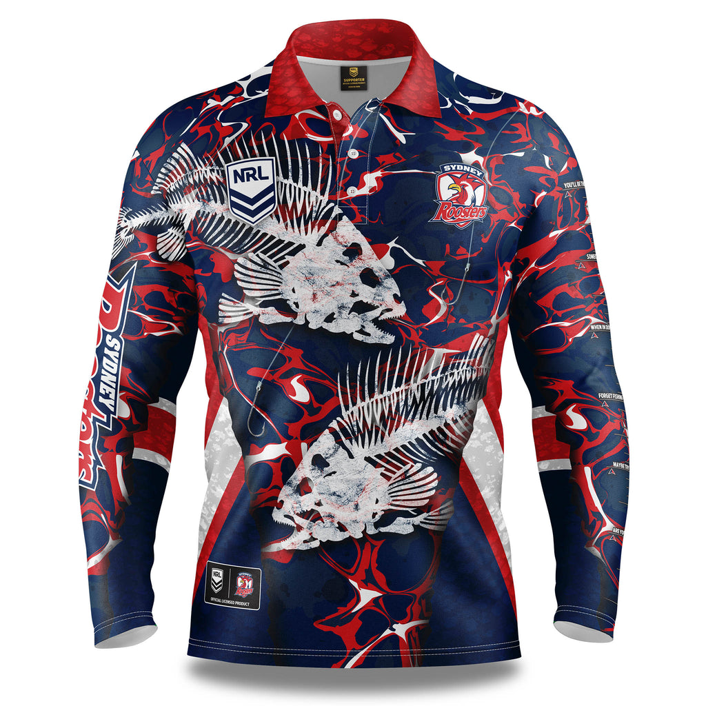 "NRL Roosters ""Skeletor"" Fishing Shirt - Adult"