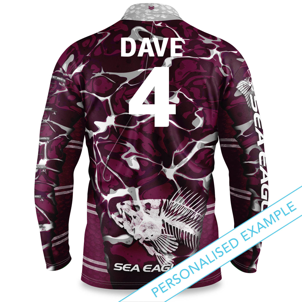 "NRL Sea Eagles ""Skeletor"" Fishing Shirt - Adult"