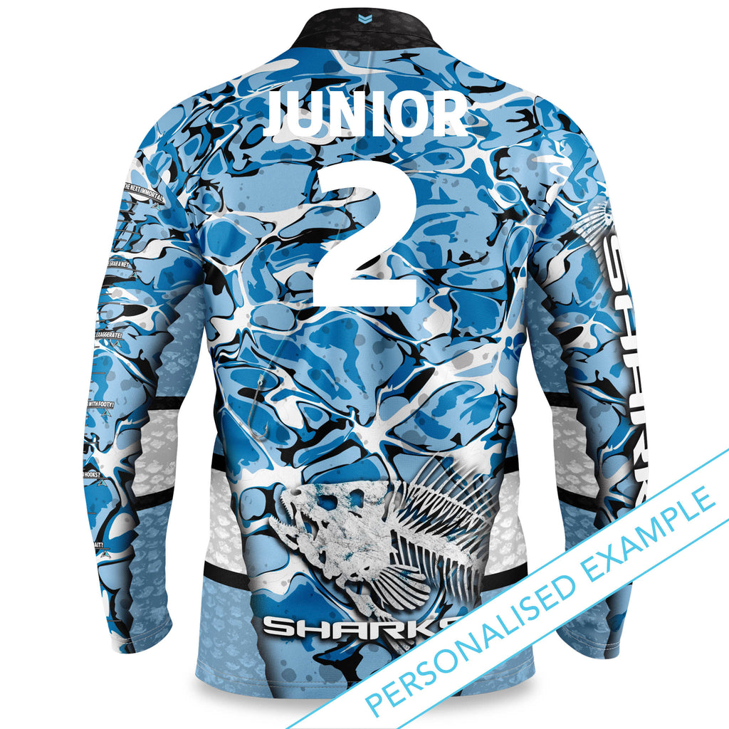 "NRL Sharks ""Skeletor"" Fishing Shirt - Youth"
