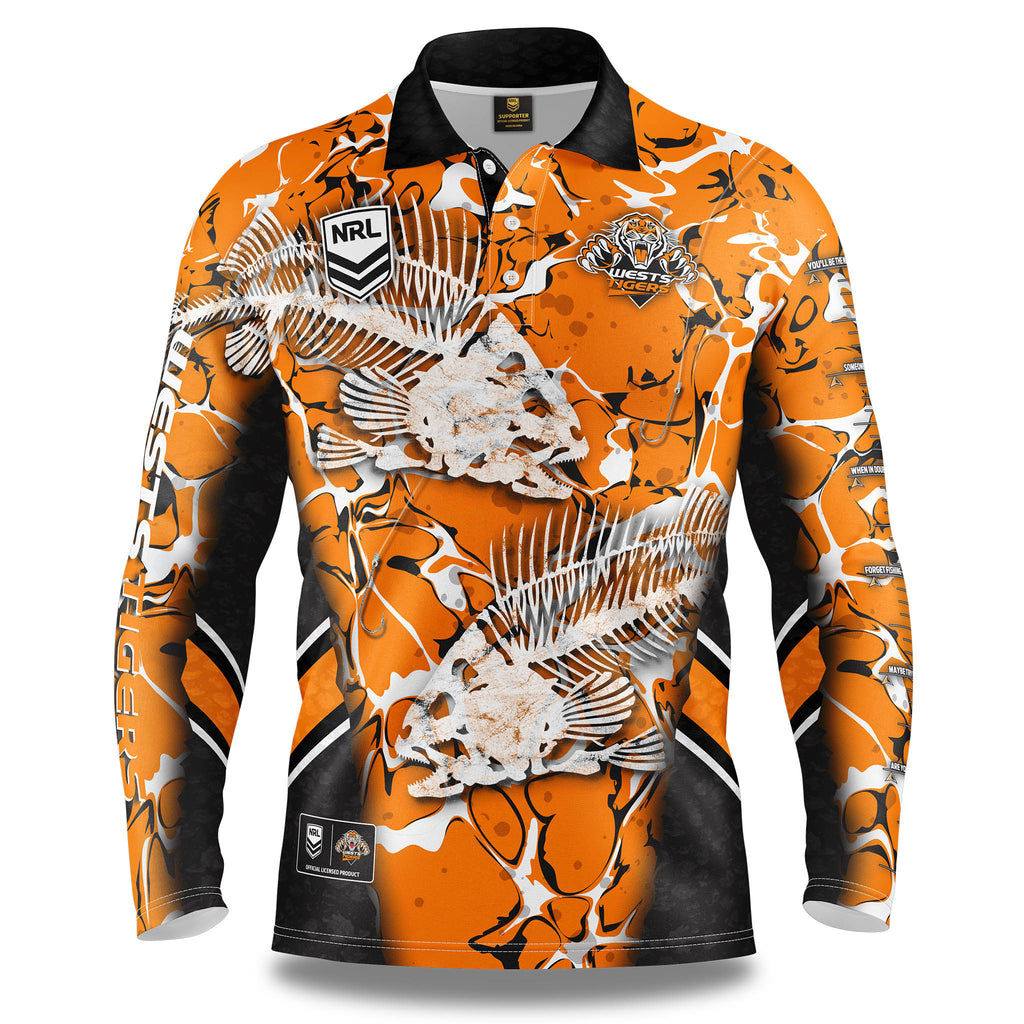 "NRL Wests Tigers ""Skeletor"" Fishing Shirt - Adult"
