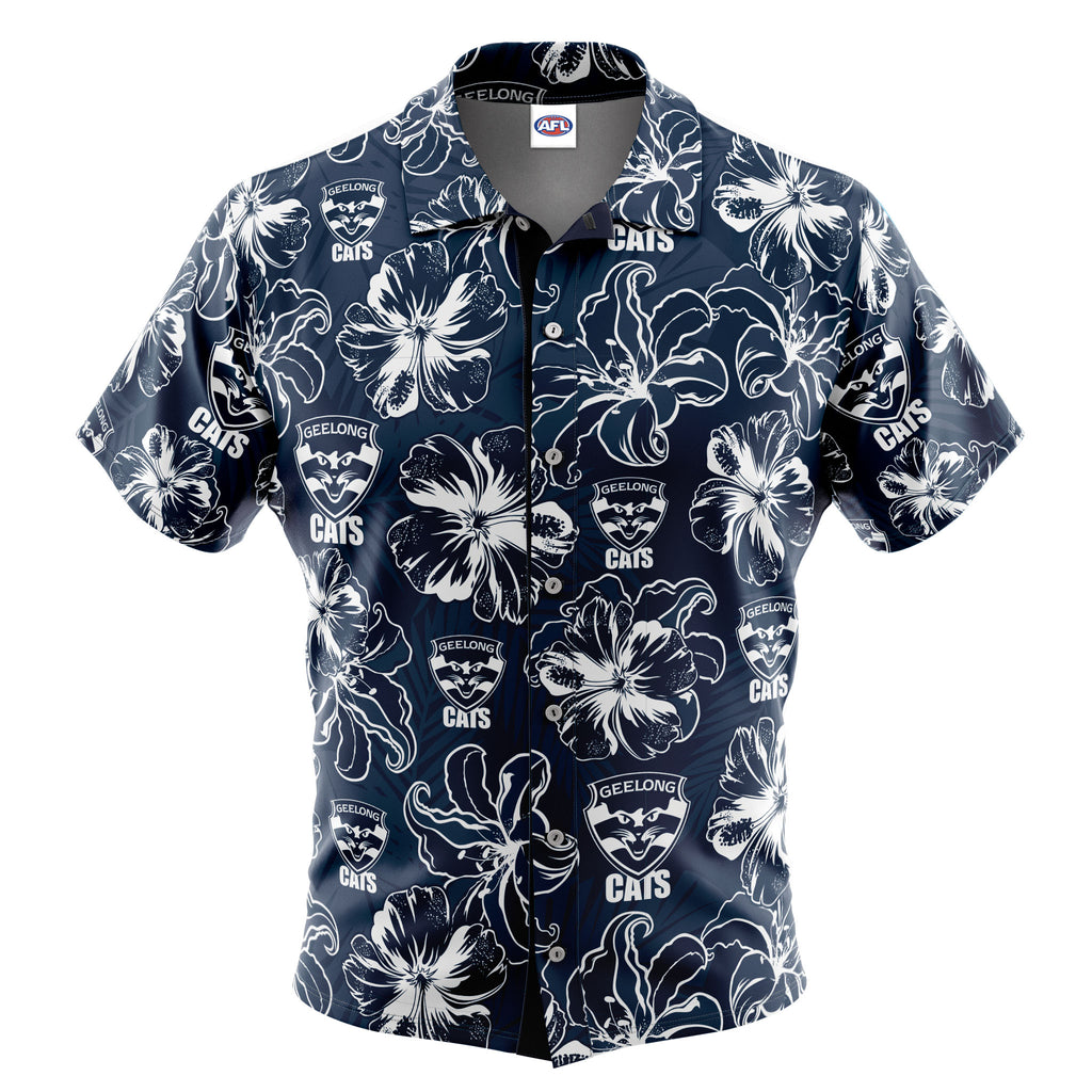 AFL Geelong Cats 'Floral' Hawaiian Shirt