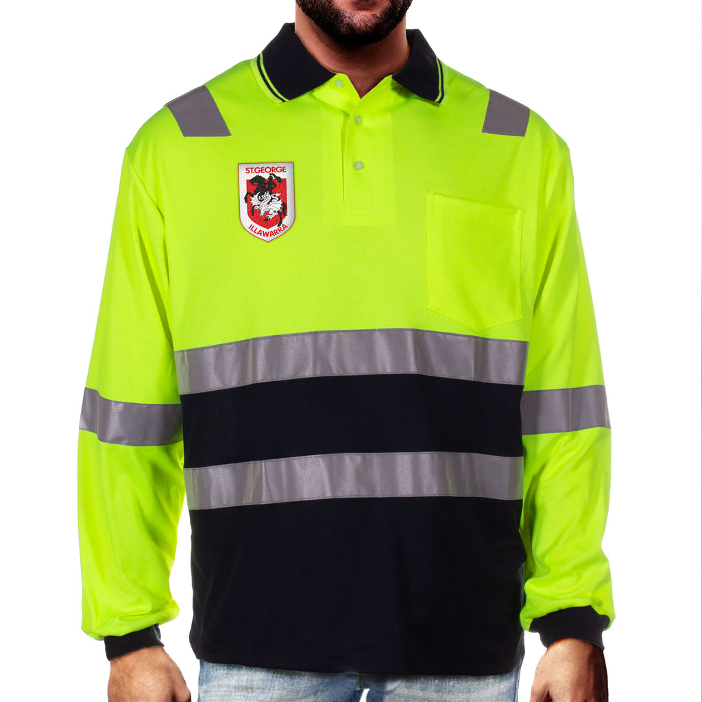 NRL Dragons L/S Hi-Vis Polyface Cotton Polo