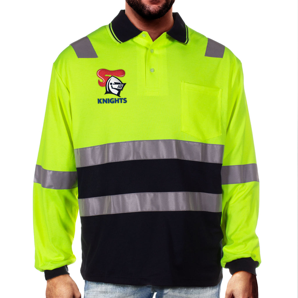 NRL Knights L/S Hi-Vis Polyface Cotton Polo
