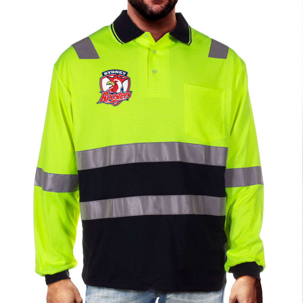NRL Roosters L/S Hi-Vis Polyface Cotton Polo