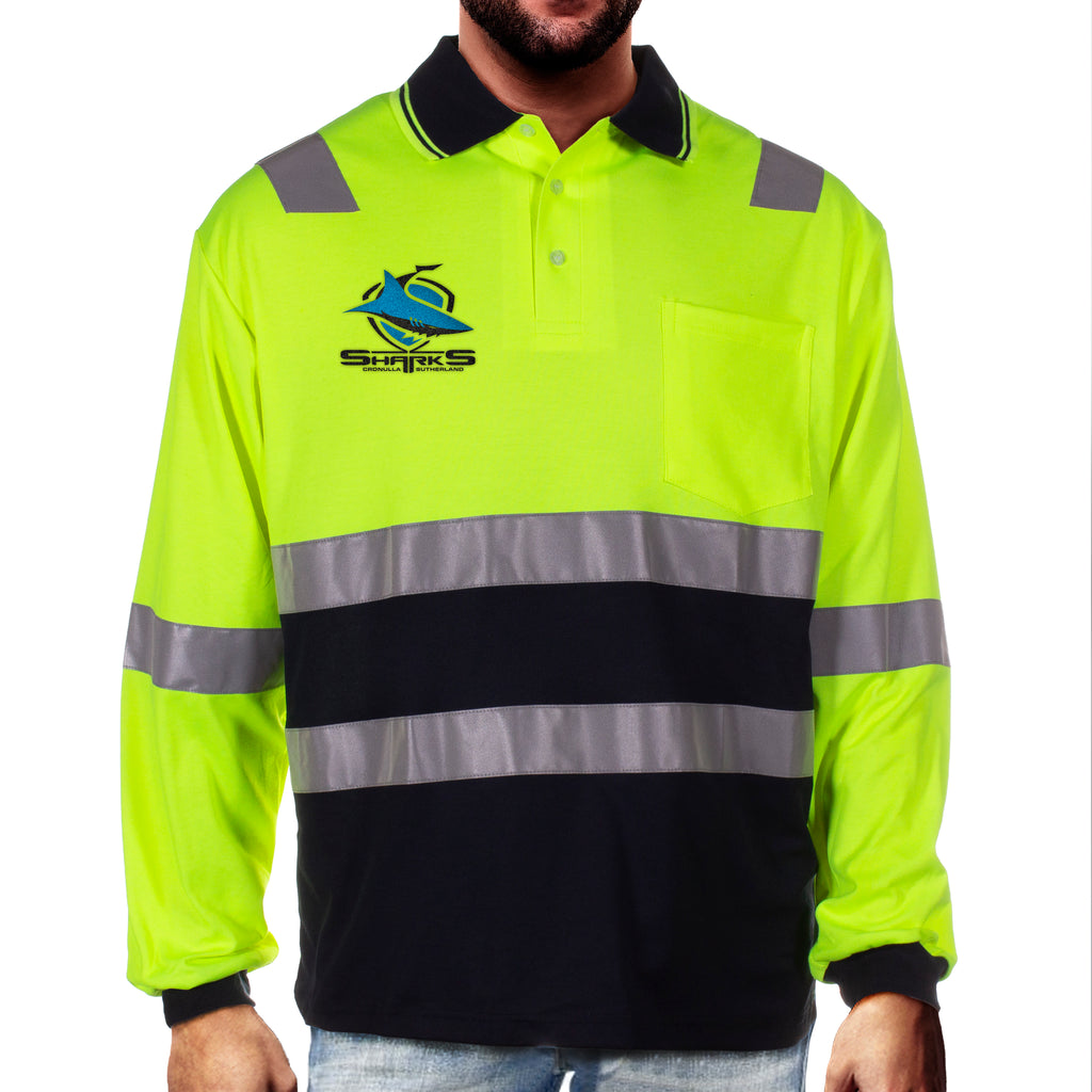 NRL Sharks L/S Hi-Vis Polyface Cotton Polo