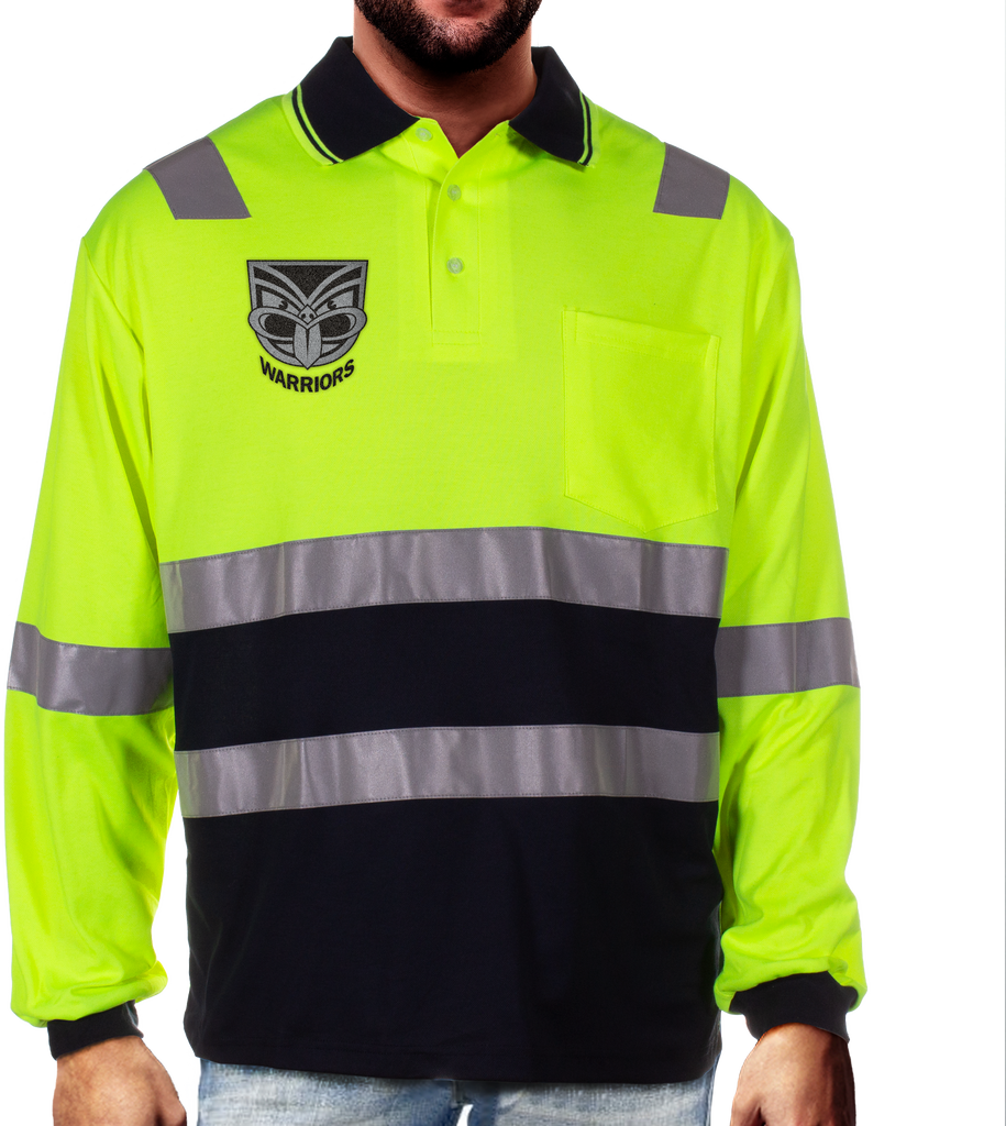 NRL Warriors L/S Hi-Vis Polyface Cotton Polo