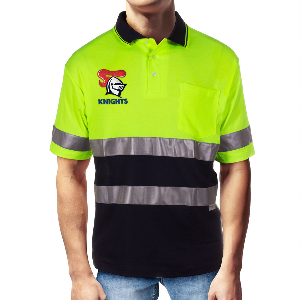 NRL Knights S/S Hi-Vis Polyface Cotton Polo