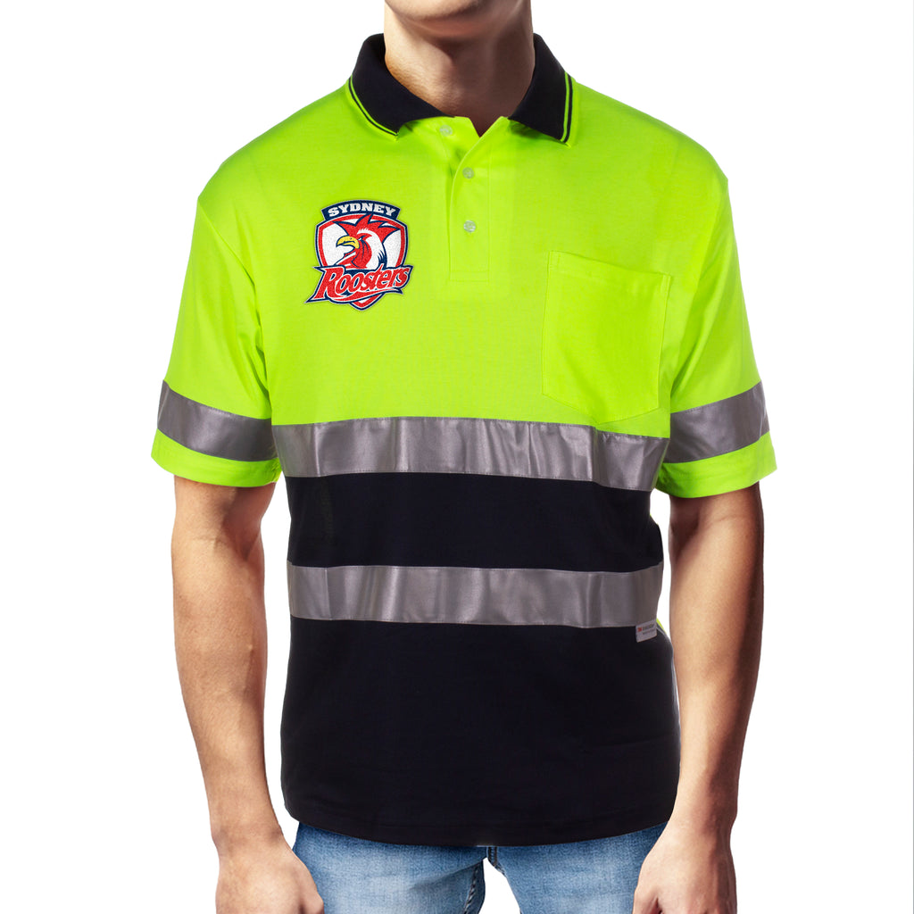 NRL Roosters S/S Hi-Vis Polyface Cotton Polo