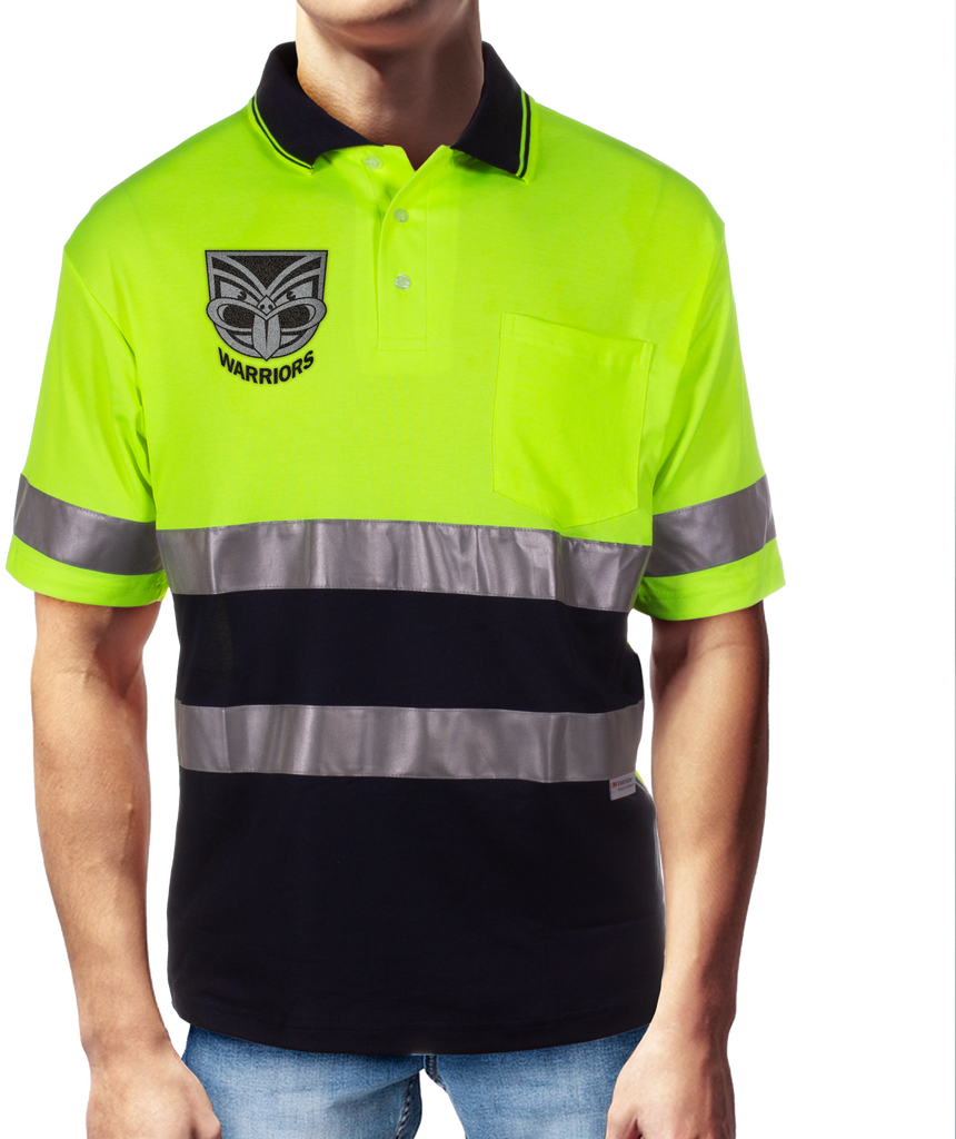 NRL Warriors S/S Hi-Vis Polyface Cotton Polo