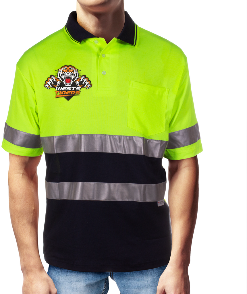 NRL Wests Tigers S/S Hi-Vis Polyface Cotton Polo