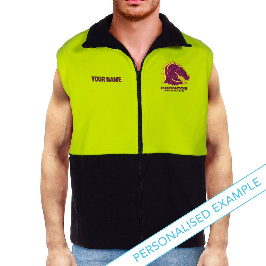 NRL Broncos Hi-Vis Polo Fleece Vest