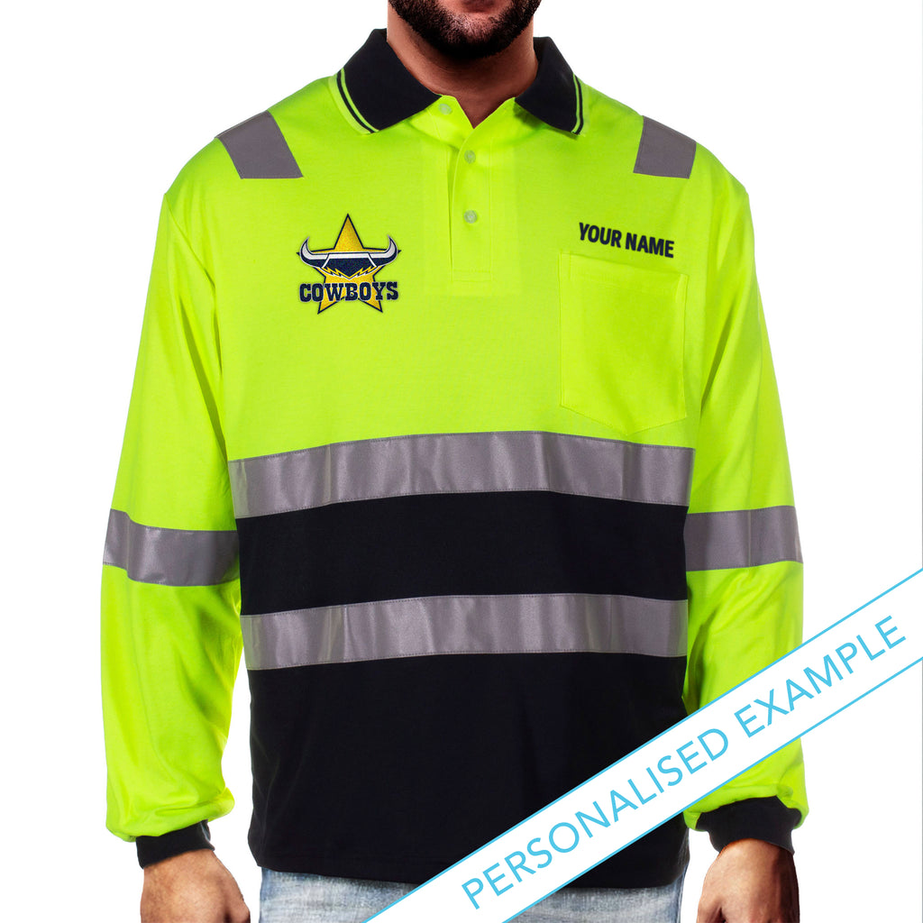 NRL Cowboys L/S Hi-Vis Polyface Cotton Polo