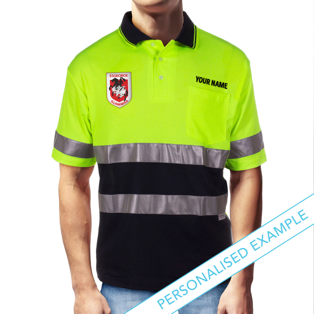 NRL Dragons S/S Hi-Vis Polyface Cotton Polo