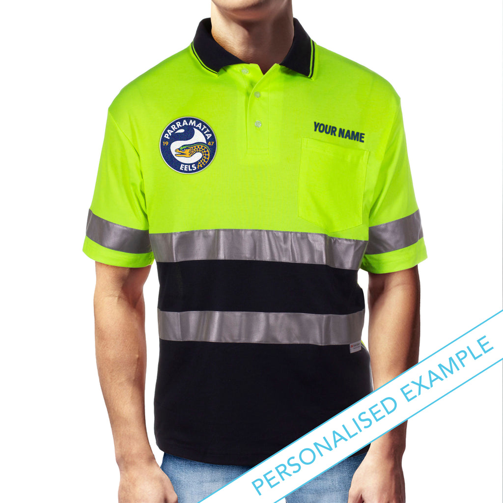 NRL Eels S/S Hi-Vis Polyface Cotton Polo