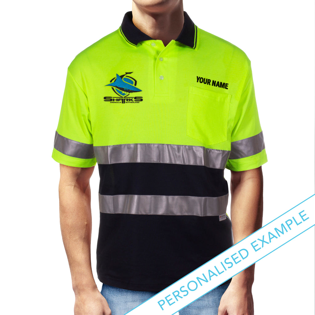 NRL Sharks S/S Hi-Vis Polyface Cotton Polo