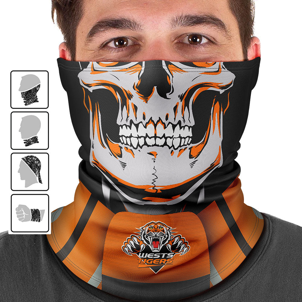 "NRL Wests Tigers ""Skull-Face"" Multi-Purpose Scarf"