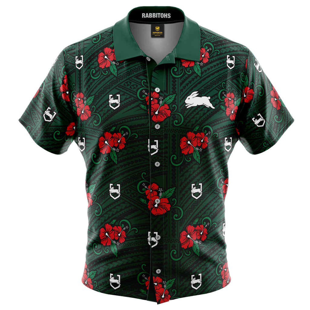 NRL Rabbitohs Tribal Button Up Shirt