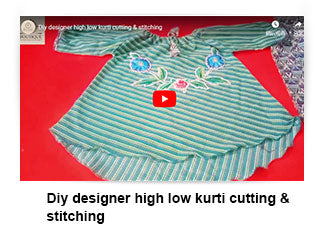 Diy designer high low kurti cutting & stitching