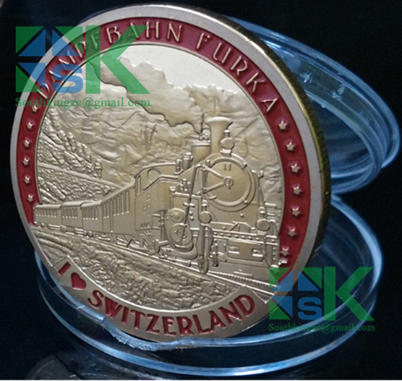 Custom Tourism Souvenir Coin for Silvia, the First Coin is Dampfbah Furka Coin, do you like the  old stream