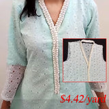 bead lace applique pearl diamond