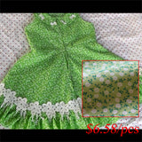 green flower cotton fabric