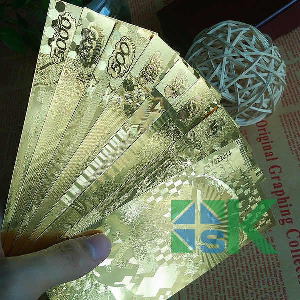 gold foil Russian banknote