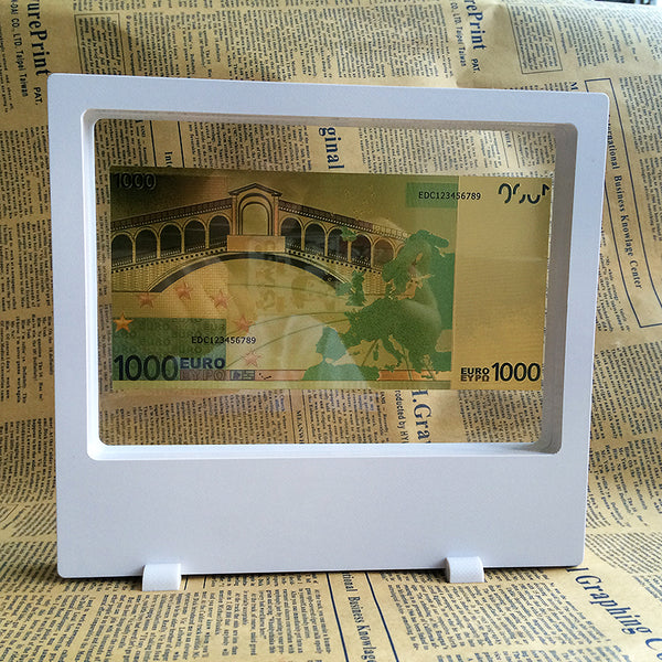 multinational display box with 24k gold banknote
