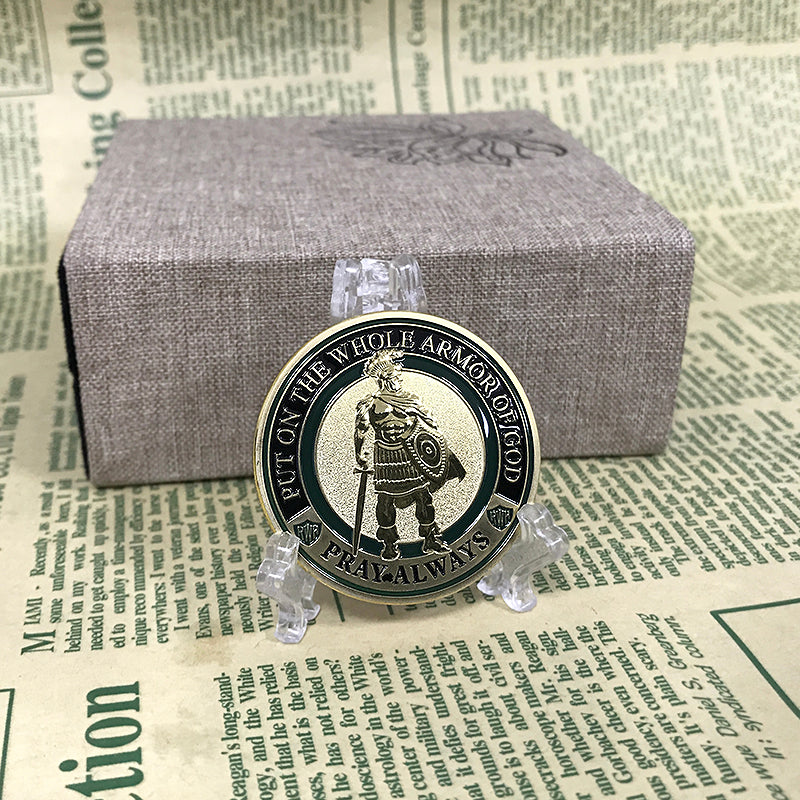 The Whole Armor of God challenge coins enamel gold coins medals