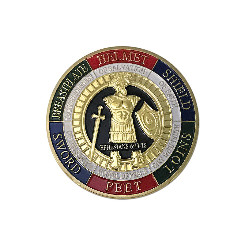 The Whole Armor of God challenge coins collectible good look enamel gold  coins medals