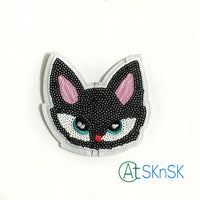Black Fox Sequined Embroidered Patches 9.5*8CM