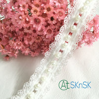 1Yard 2cm Wide DIY Beaded Handmade Accessories White Pearl Lace Trim