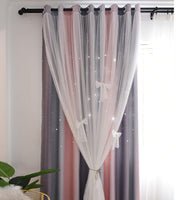 Full Blackout Or Semi Blockout Curtain, Double Layer with Hollow Out Star