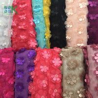 Lace 2016 New Multicolor 3D flower chiffon 130cm double layer embroidered DIY wedding dress clothing accessories lace fabrics SK