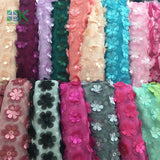 New Multicolor 3D flower chiffon 130cm double layer embroidered DIY wedding dress clothing accessories lace fabrics SK