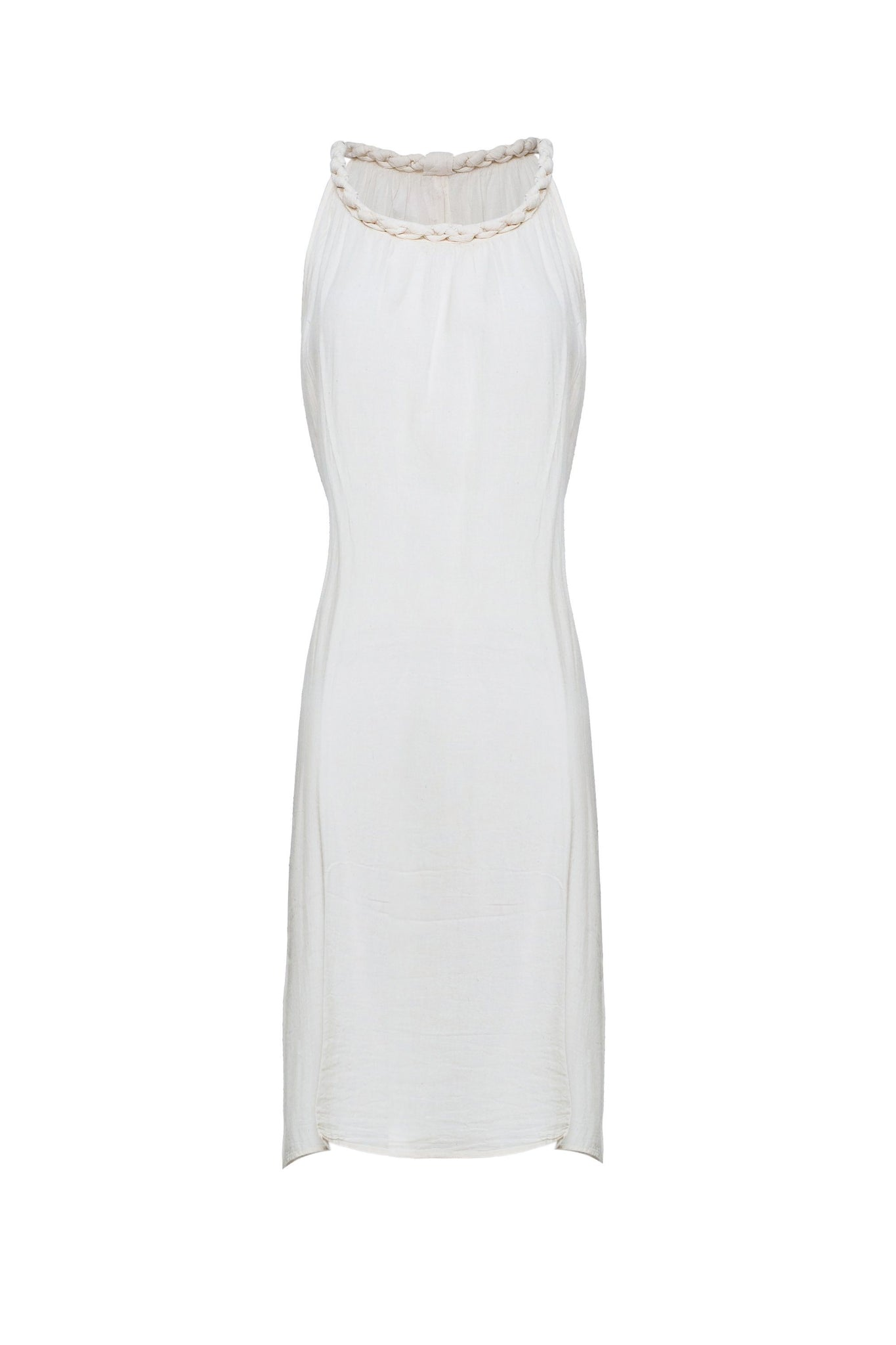 Pure luxury natural Cotton Mid Length Dress with Plait straps - CCCollections