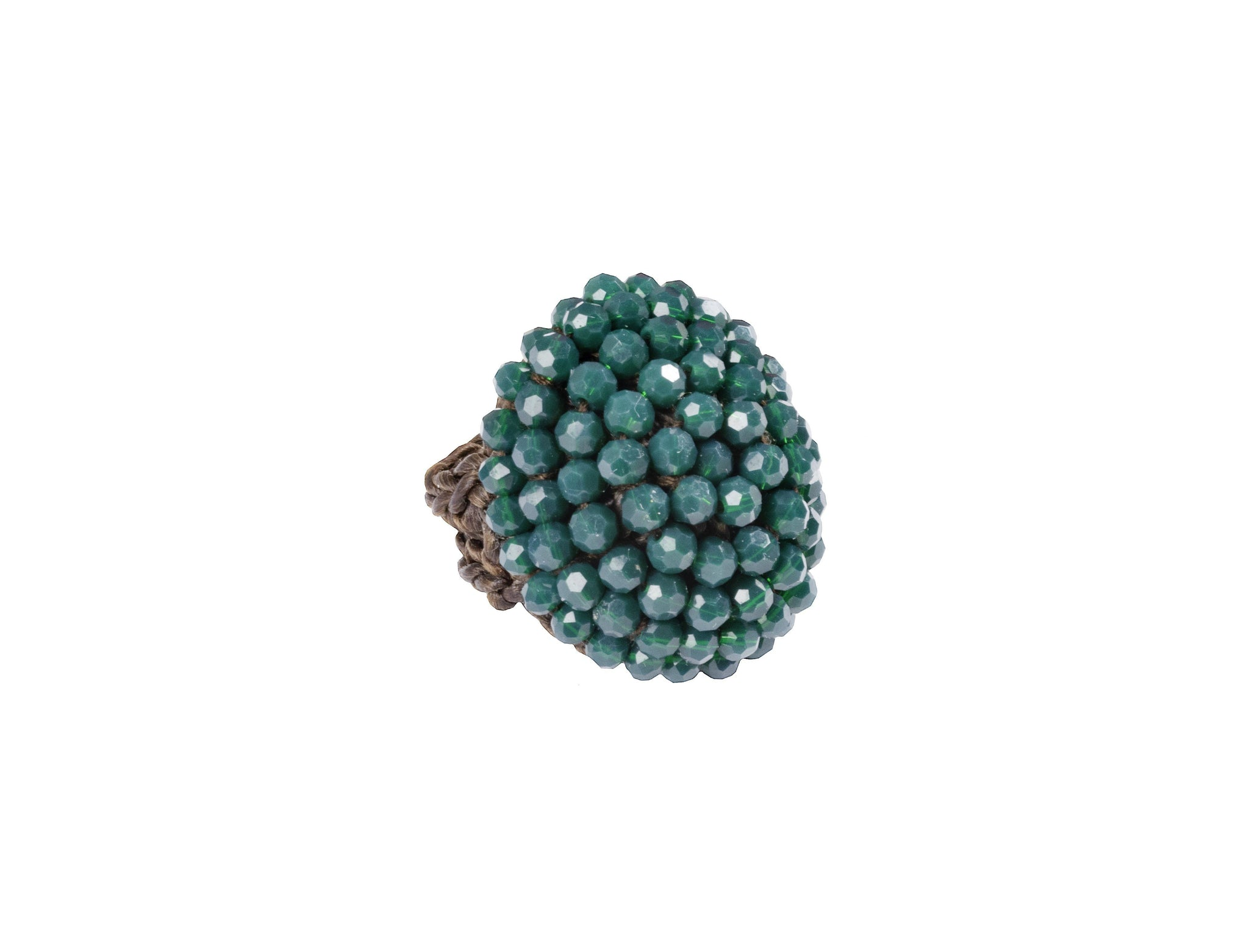 CCcollections Handmade Ring Macrame Crystal Beaded - CCCollections