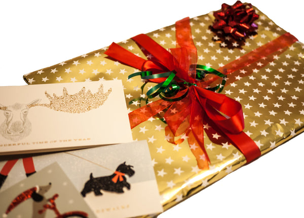 Gold Wrap with Festive Card, Tissue Paper +  Multi Ribbon - CCCollections