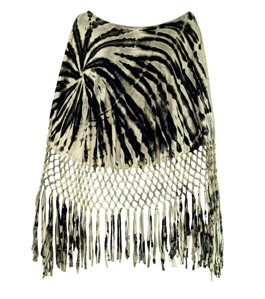 Tie Dye Macrame Net Poncho Black & White - CCCollections