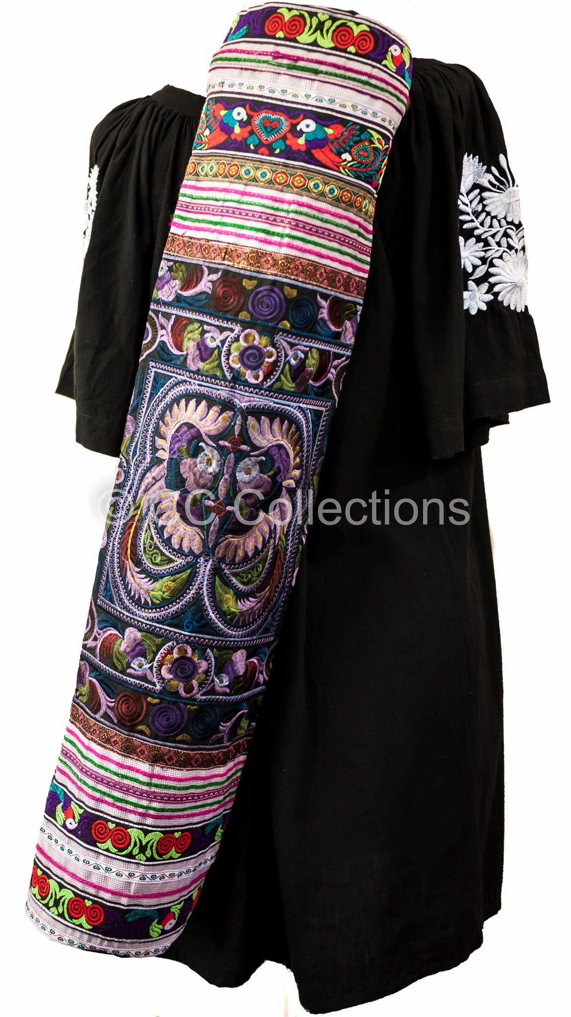Bohemian Yoga Mat Bag Carrier Embroidered Hill tribe ethnic A - CCCollections