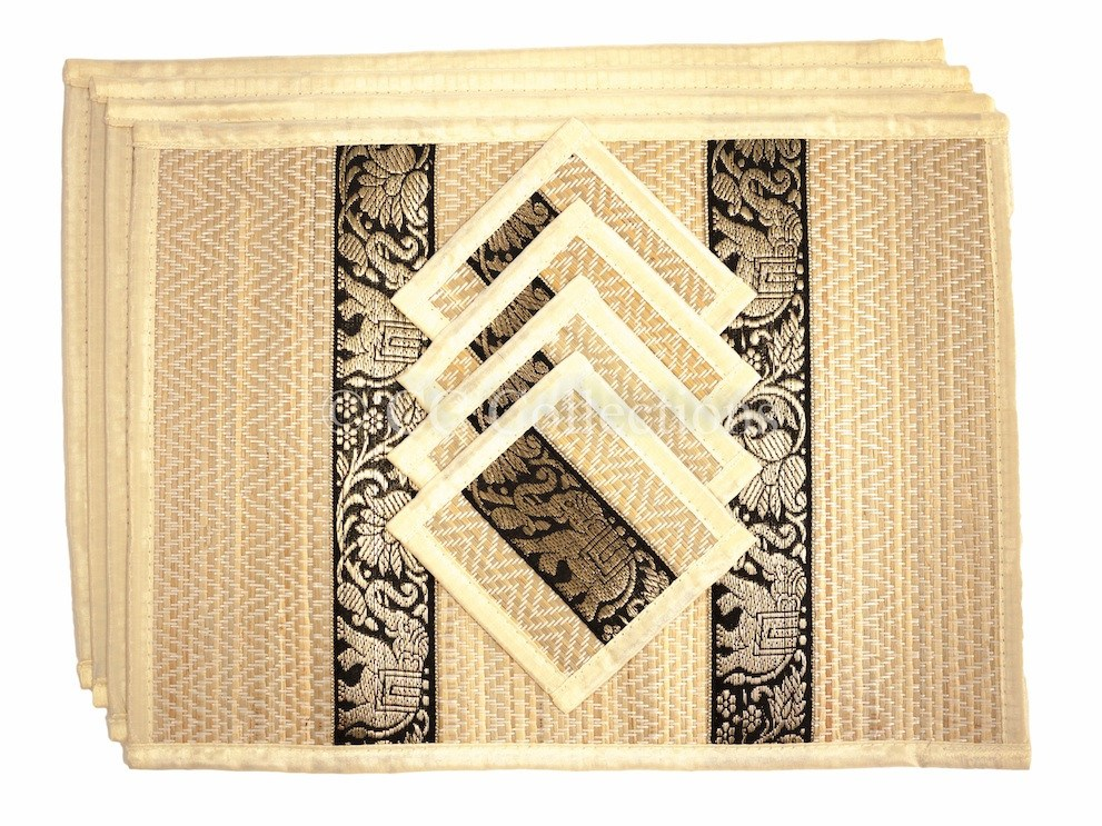 Reed Placemat with Silk Trim Medium - Eco Friendly Handmade, Heat Resistant, Easy to wipe clean  Sustainable Kitchen craft  Dining table mat with natural reed material by artisan - CCCollections