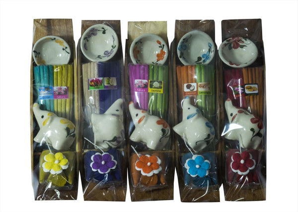 Aroma Incense Stick & Cone with Ceramic holder Gift set mixed scented set of 5 pack - CCCollections